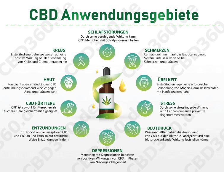 CBD Anwendungsgebiete Wirkung Infografik