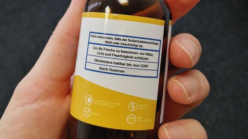 Etikett der Pure Gold Flasche